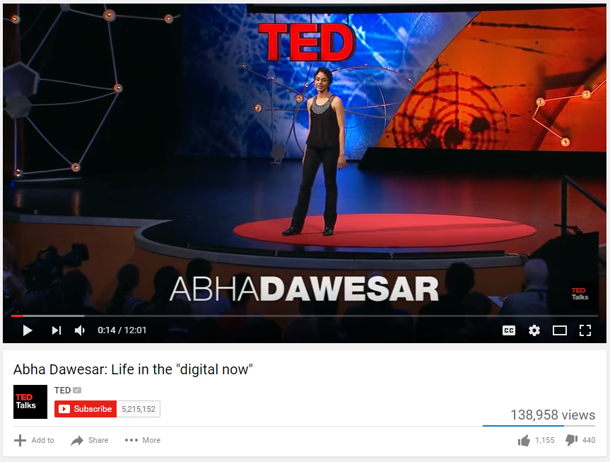 This is a screen shot of the video TED Talk by Abha Dawesar on Life in the Digital Now