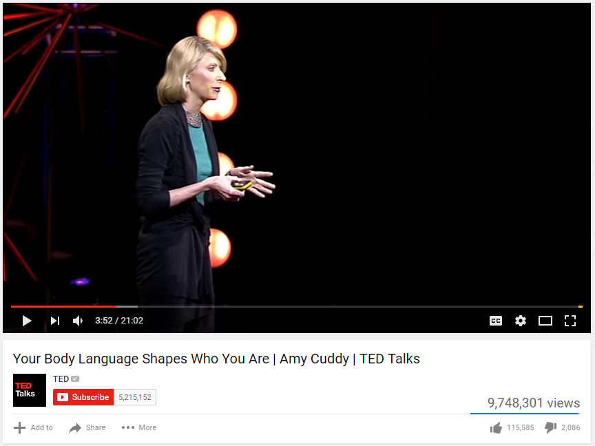 This is a screen shot of the video TED Talk by Amy Cuddy on Your Body Language Shapes Who You Are