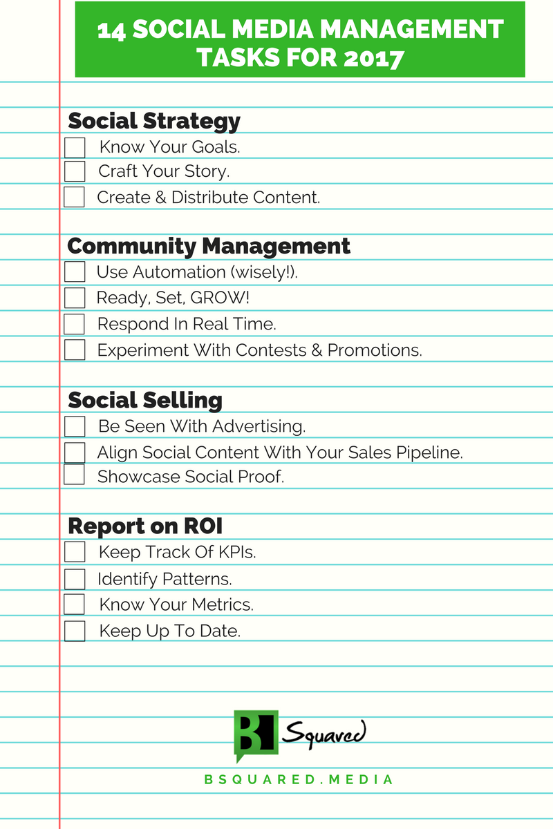 14 social media management tasks you need in 2017 checklist social media management tasks checklist