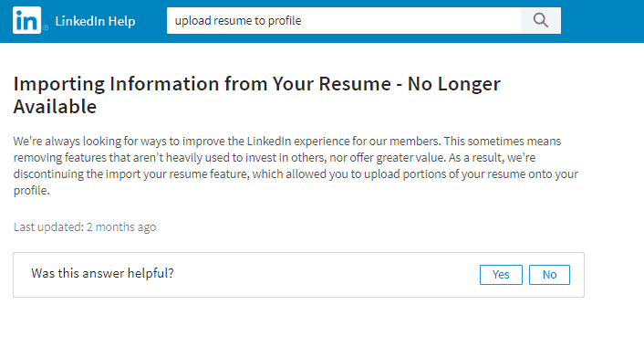 I Recently Realized That Itu0027s Been Quite A While Since I Saw A Resume On  Anyoneu0027s Profile. I Did Some Investigating And Found My Answer In  LinkedInu0027s Help ...  Resume Upload