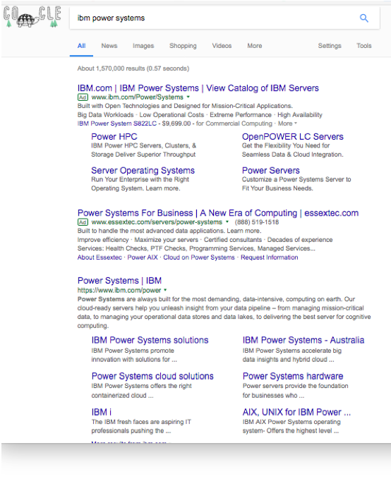 This is a search engine results page showing sit links for both the paid and organic listings.