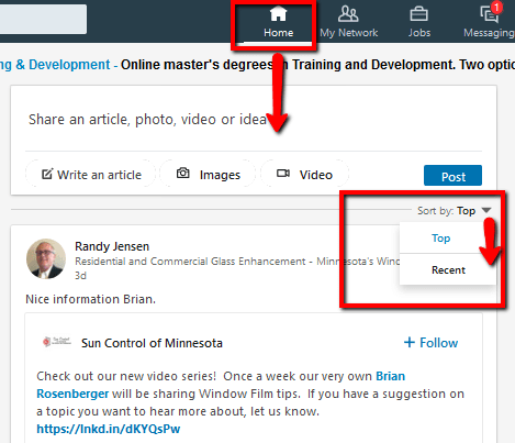 LinkedIn newsfeed top recent