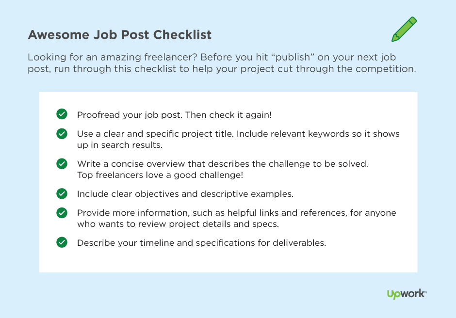 Checklist of what employers should include in a job post