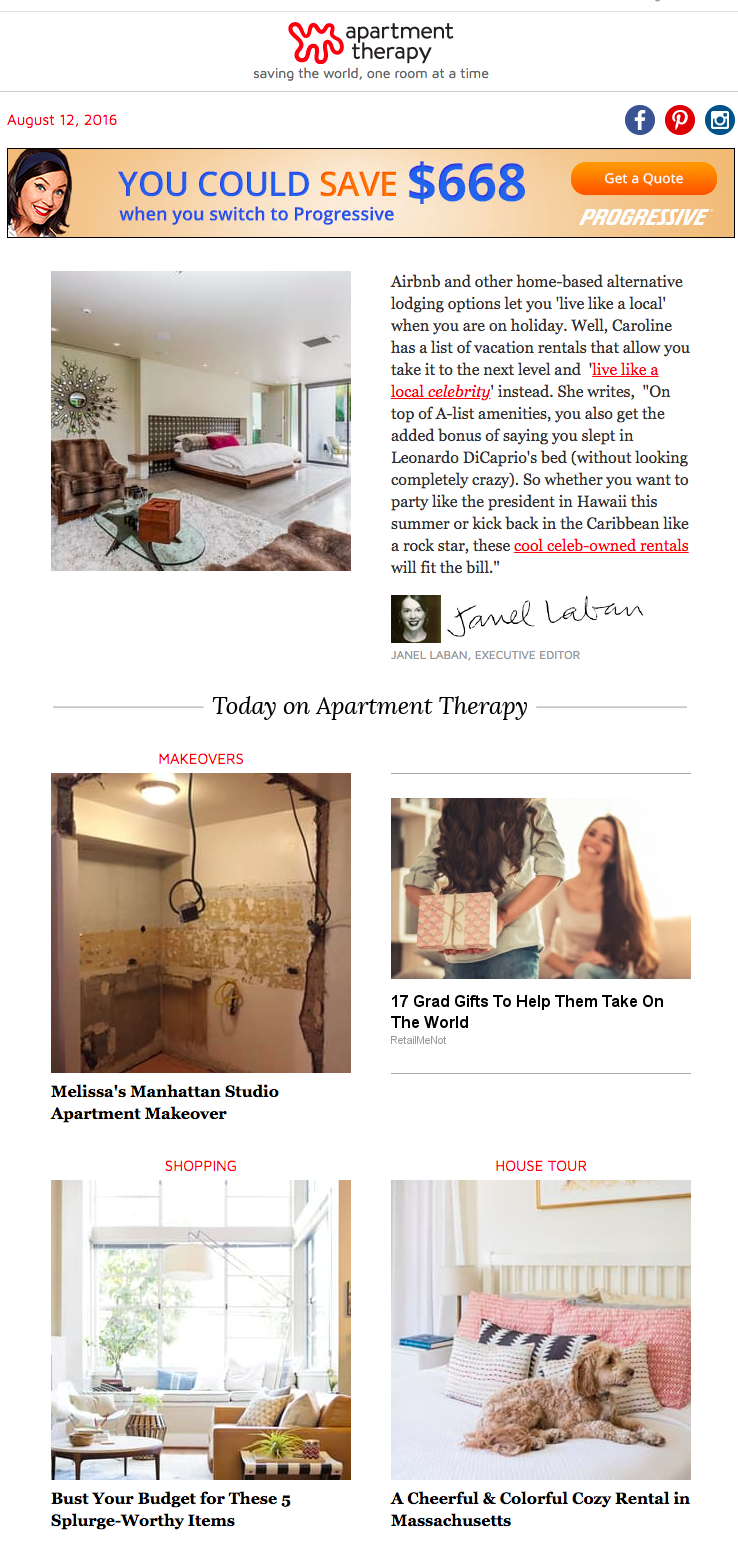 Apartment Therapy – Email Newsletter with Ads