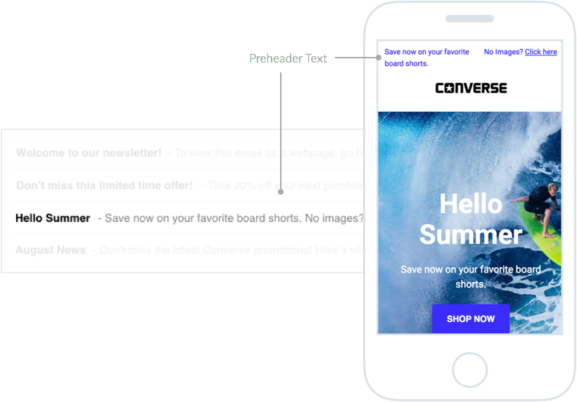 Converse Email Marketing – Subject Line and Pre-Header Text