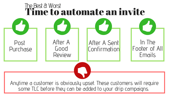 the best time to automate an invite to get word of mouth to occur