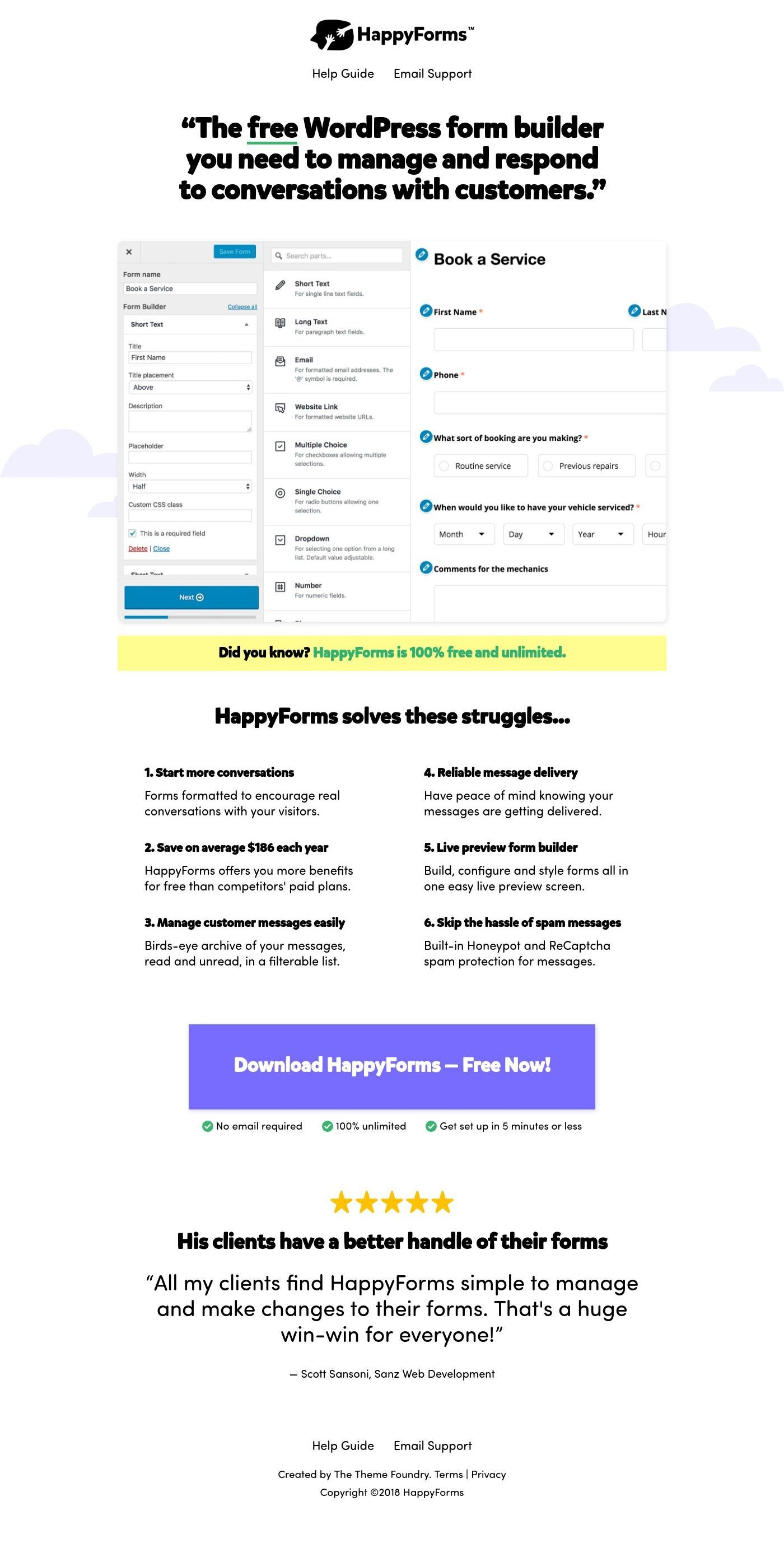 HappyForms landing page
