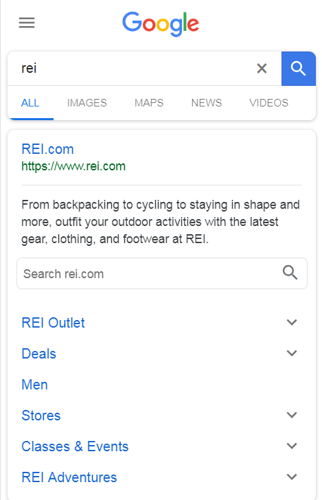 rei sitelinks mobile