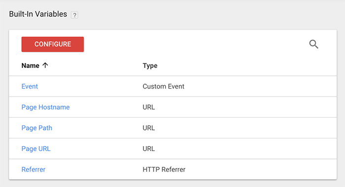 The Variables screen in Google Tag Manager