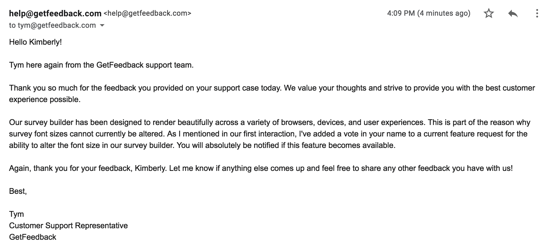 customer thank you email example getfeedback