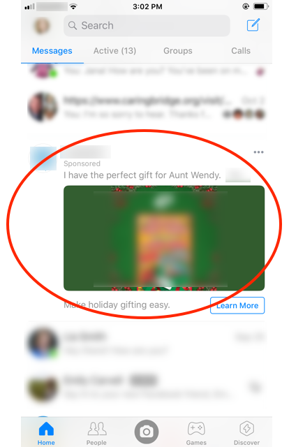 Facebook Messenger ad