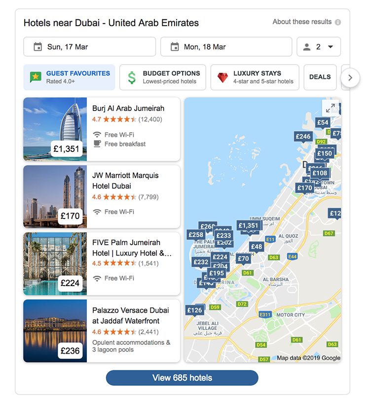 Near me search of hotels near Dubai