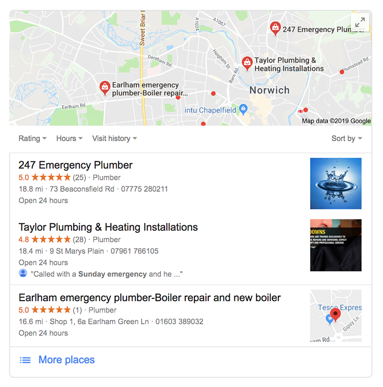 Local search results showing emergency plumbers