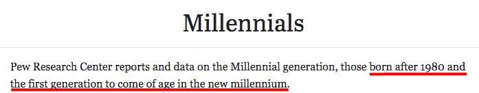 Definition of millennials