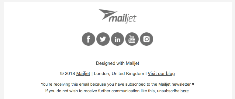 Mailjets unsubscribe link in our emails