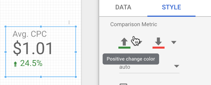 choosing the change arrow color in data studio.