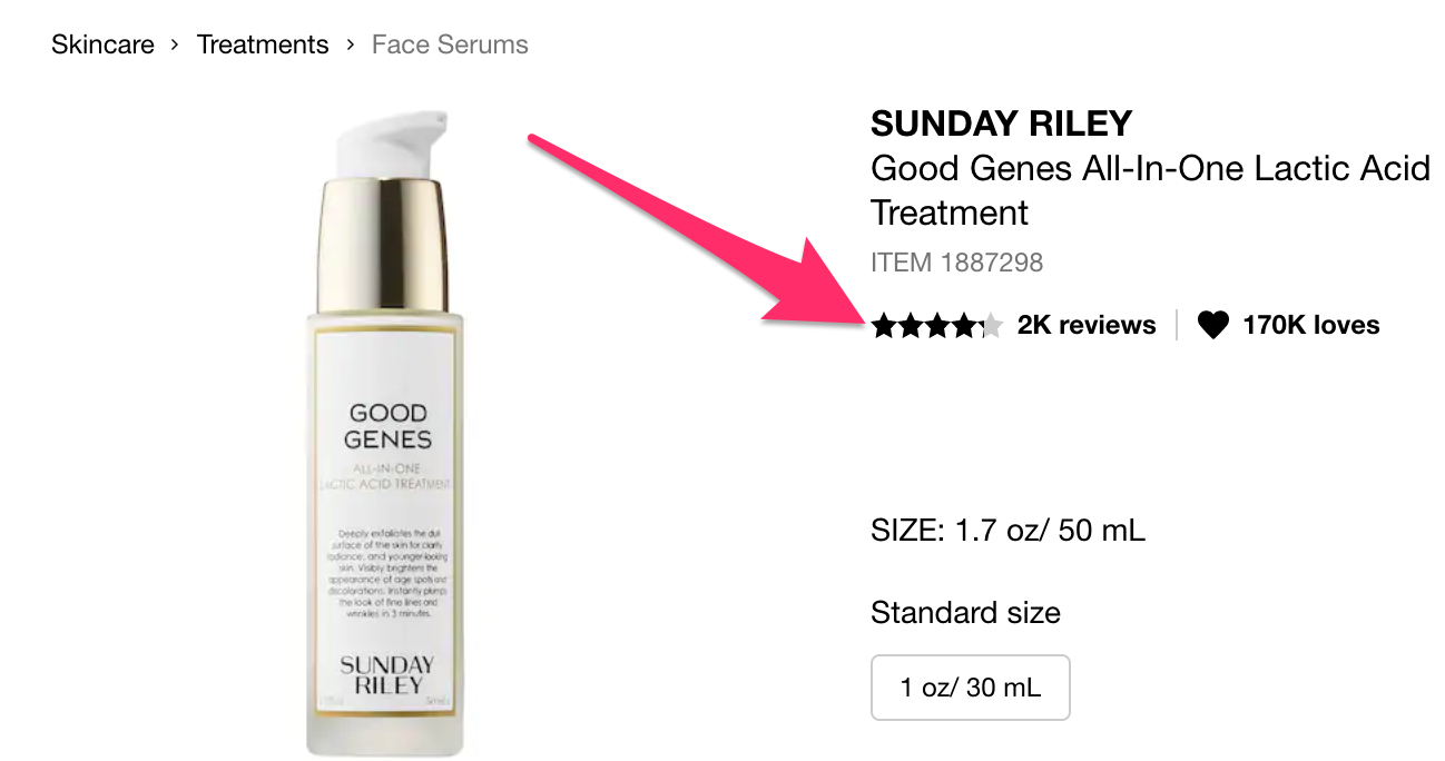 Sunday Riley Good Genes product reviews on Sephora