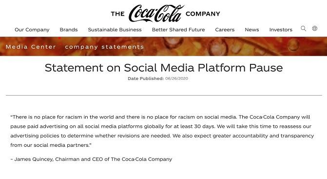 Coca Colas Facebook boycott statement