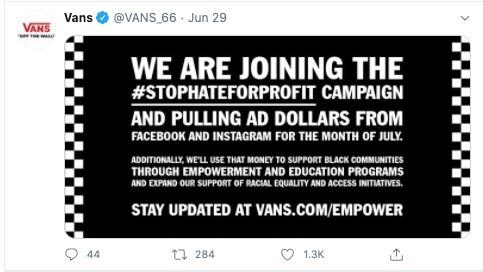 Facebook advertising boycott tweet from Vans