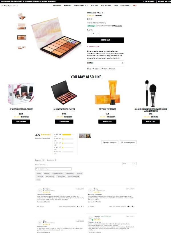 coastalscents product page review display