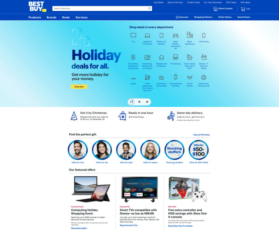 BestBuy holiday deals.
