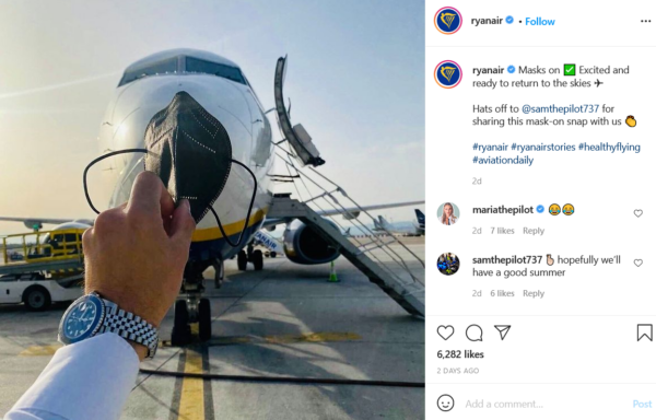 Ryanair using their branded hashtag on Instagram