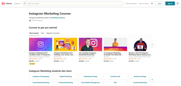 Instagram courses on udemy