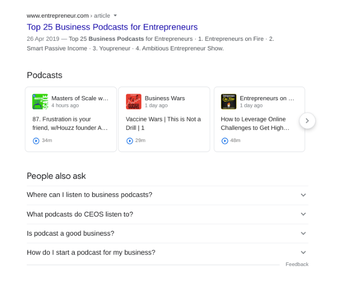 Google search results for business podcast
